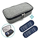 Insulin Cooler Bag Travel Case, MHKBD Portable Medical Travel Cooler Pack Diabetic Organizer Cooling Wallet for Diabetics Medication Cool with Temperature Display and [2 Ice Packs], 8.7'x4.7', Gray