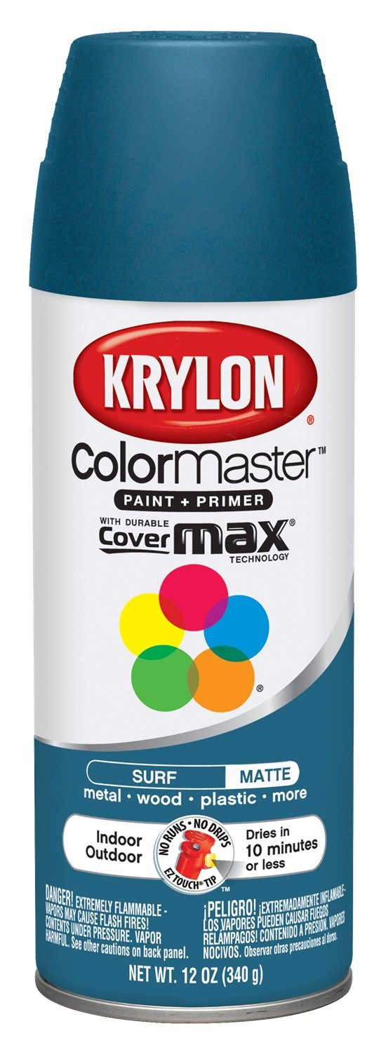 Krylon Colormaster Indoor/Outdoor Aerosol Paint, 12 oz, Surf
