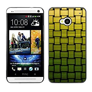 TopCaseStore / la caja del caucho duro de la cubierta de protección de la piel - Basket Pattern Green Bamboo - HTC One M7