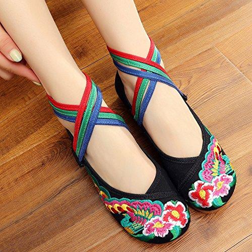 WXT Zapatos bordados, lenguado del tendón, estilo étnico, zapatos de tela femenina, moda, cómodo, casual dentro del aumento Black