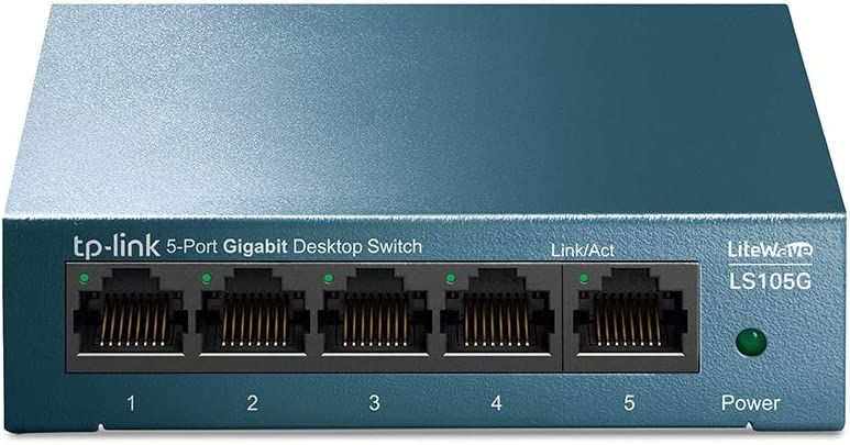 TP-Link LS105G - Switch Ethernet 5 Puertos (10/100/1000Mbps), Switch Gigabit, Switch WiFi, Carcasa metálica, Ultraligero, Super disipación de Calor, QoS, Ahorro de Energía, Silencioso, No Gestionado