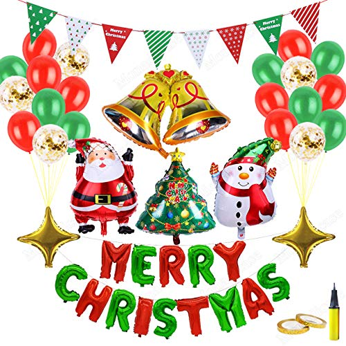Christmas Decorations Balloon Kit 28 Pcs - Merry Christmas/Santa Claus/Xmas Tree/Snowman/Bell/Star Foil Balloon, Gold Sequin/Red Green Latex Balloon with Air Pump, Banner Gift for New Year Party Decor -