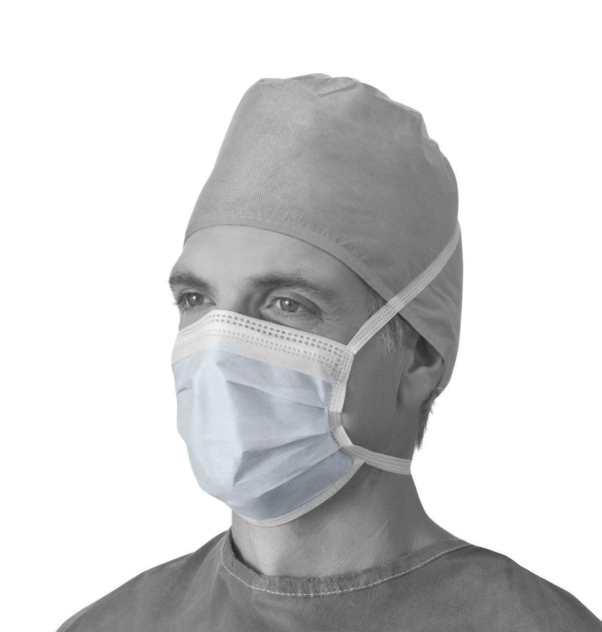 Medline NON27378AZ Anti-Fog Surgical Face Mask, Blue (Box of 50) by Medline (Image #1)