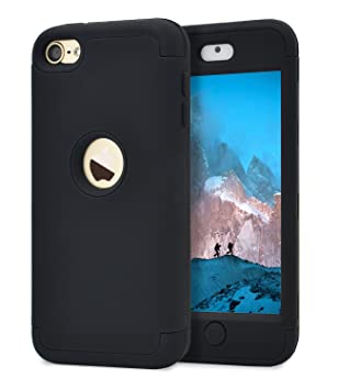 Dailylux Funda iPod Touch 5,Funda iPod Touch 6,Funda Touch 7,Prueba de Polvo Prueba de choques Carcasa Híbrido de 3 Capas de Silicona Resistente para ...