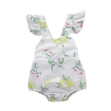 PAOLIAN Monos Ropa para bebé niñas Mameluco Peleles Verano Impresion de Florales y Limón fiesta Sin