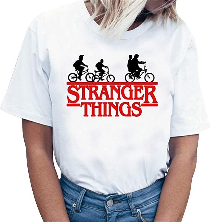 Camiseta Stranger Things Niña, Camiseta Stranger Things Temporada 3 Unisex Mujer Impresión Manga T-Shirt Abecedario Camiseta Stranger Things Camisa de Verano Regalo Camisetas y Tops: Amazon.es: Ropa y accesorios