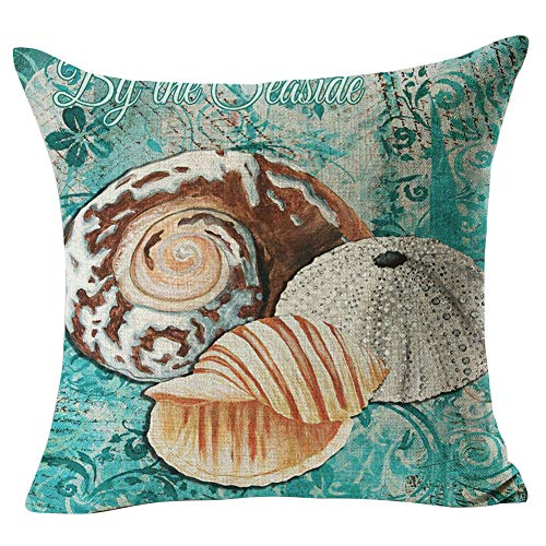 Wintefei Retro Sea Animal Linen Throw Pillow Case Cushion Cover Sofa Home Office Art Decor #16 Damask Whale ()