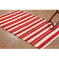 Rugolution Handwoven 3x5 / 90x150 cm Red Stripes Woolen Area Rug, Style: 2434