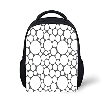 d0fe13c618c iPrint Kids School Backpack Geometric Circle,Retro Pattern with Large Small  Round Dots Abstract Art