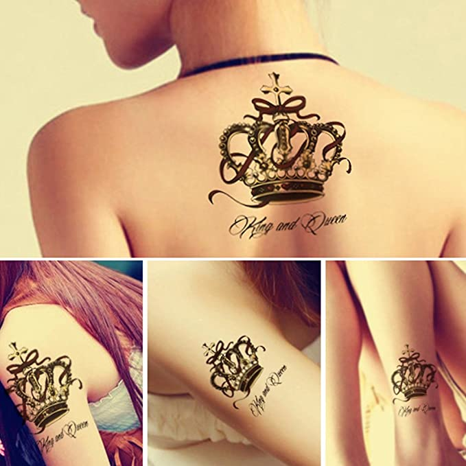 Tafly Crown Temporary Tattoo Queen Body Art Transfer Tattoos