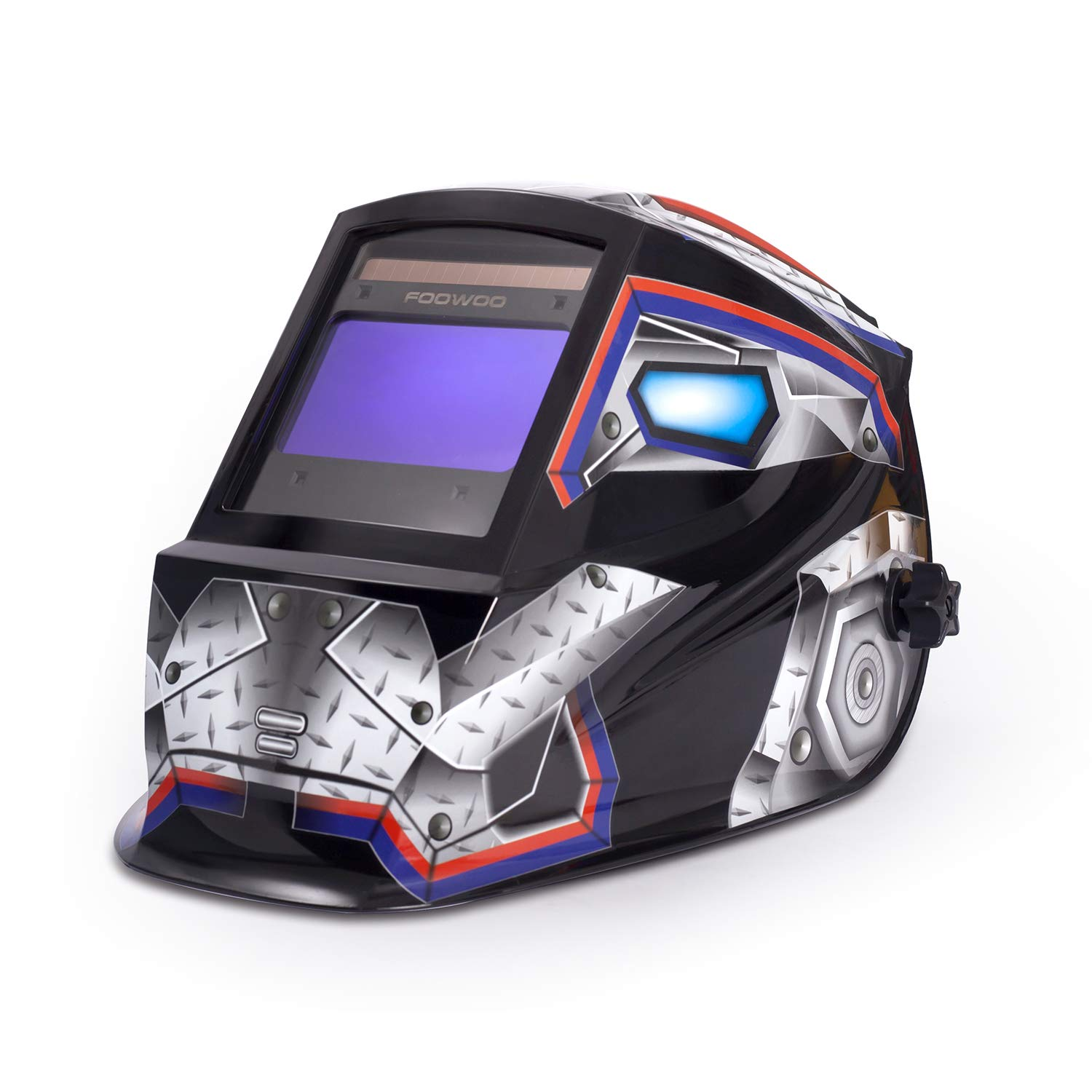 Large Viewing Screen 3.9''X2.4'' True Color Solar Power Auto Darkening Welding Helmet, 4 Arc Sensor Wide Shade 4/5-9/9-13 for TIG MIG Arc Weld Grinding Welder Mask Robot Design by Foowoo
