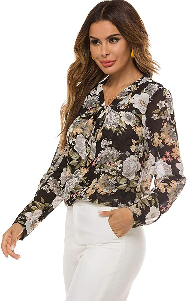 LQWY Women's Bow Tie Neck Cuffed Chiffon Blouse Long Sleeve V Neck Floral Print Shirts Casual Blouse Shirt Top Office