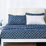 Bedsure Queen Sheets - Quatrefoil Printed Bed Sheet Set - Ultra Soft Microfiber
