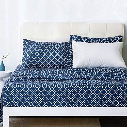 Bedsure Queen Sheets - Quatrefoil Printed Bed Sheet Set - Ultra Soft Microfiber - 14 inches Deep Pocket - 4-Piece (Navy)