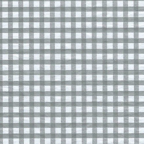 Printed Tissue Paper for Gift Wrapping with Design (White & Gray Gingham), 24 Large Sheets (20x30)