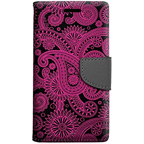 Samsung Galaxy S7 Edge Wallet Case - Paisleys Outline Pink on Black Case Sales
