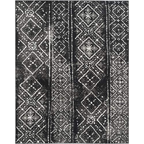 Safavieh Adirondack Collection ADR111C Black and Silver Contemporary Bohemian Distressed Area Rug (8' x 10') (Black 8x10 Rug Area)
