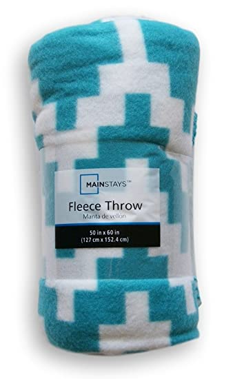Warm & Cozy Soft Fleece Throw Plush 50x60 Blanket- Pixelated Turquoise and White by Mainstay