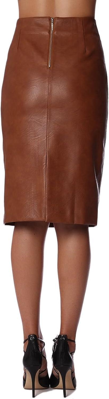 Q2 Mujer Falda de Tubo de Efecto Cuero Marron - L: Amazon.es: Ropa ...
