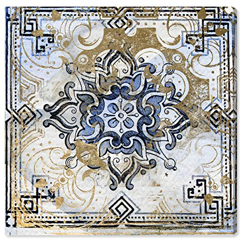 Contemporary Blue and Tan Moroccan Tile Print Wall Art on Canvas,  24