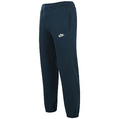 dec6a18fe2bbe Nike Mens Foundation Blue Jogging Track Bottoms Fleece Pant White Logo  (Small)