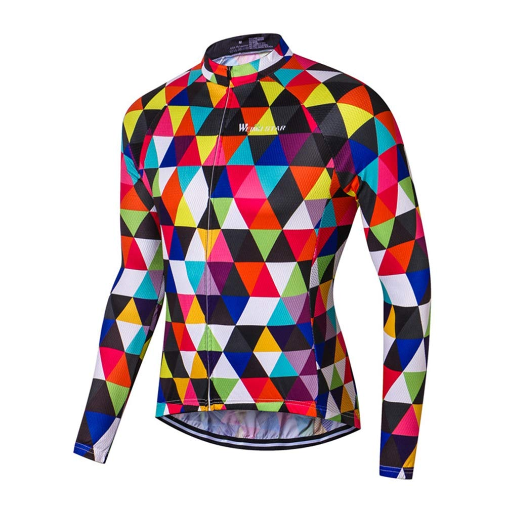 JPOJPO Cycling Jersey Men,USA Cycling Jersey Long Sleeve,Bike Jersey Full Zipper,Comfortable Breathable and Quick-Dry