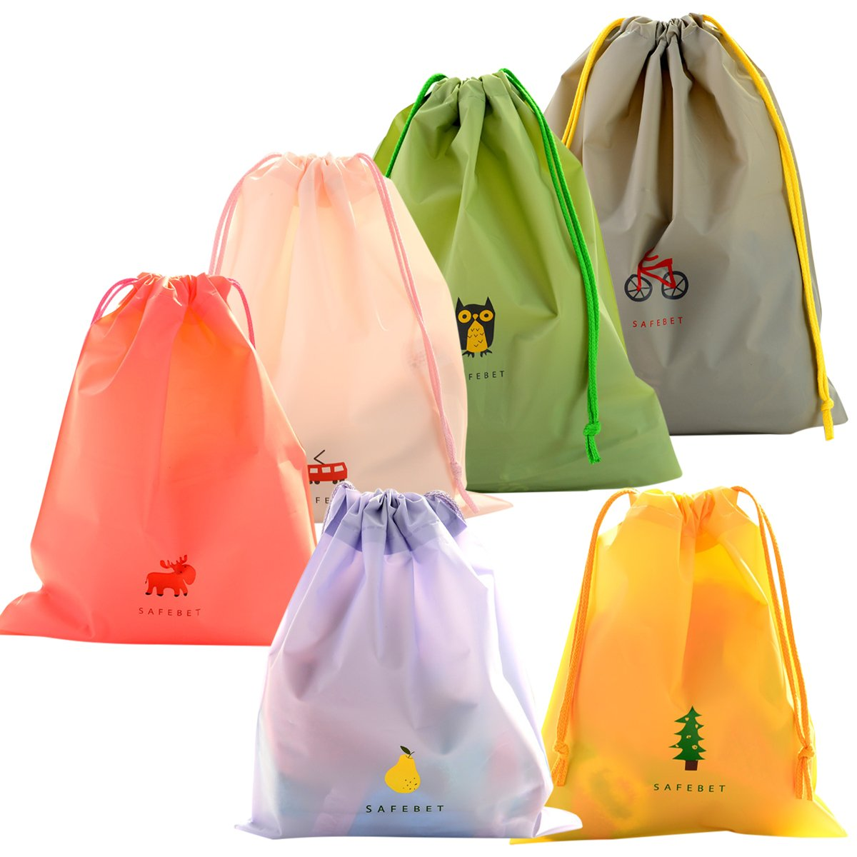 Coolzon® Set of 6 Waterproof Drawstring Bags Folding Tote Sack for Outdoor Sport Beach Holiday School Home Travel Storage Use with 3 Sizes 6 Colors
