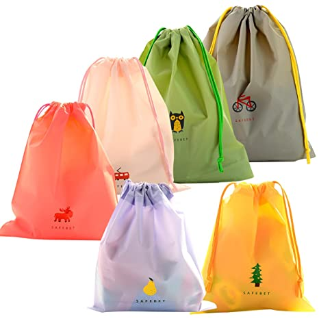 2cf0ab538c 6 Pcs Borse Impermeabile Sacca da Ginnastica, EASEHOME Sacchetti Plastica  Sacche Sportive per Palestra Borsa