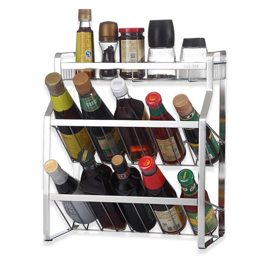 Kitchen Storage Rack Spice Shelf Floor Standing Multifunction Oblique Shape Condiment Bottle Holder,Stainless Steel 3 Layers, 35x18x40CM
