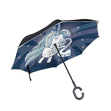 MAILIM - Paraguas Reversible con Forma de Unicornio (Doble Capa, Mango en Forma de