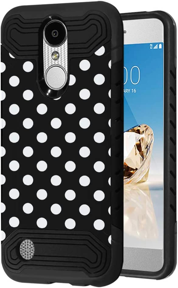 Quantum Case Compatible with LG Aristo 3, 3 Plus, Rebel 4 LTE [Moriko Premium Dual Layer Hybrid Shockproof Slim Armor Black Case Cover] for LG Aristo (Polka Dot Black)