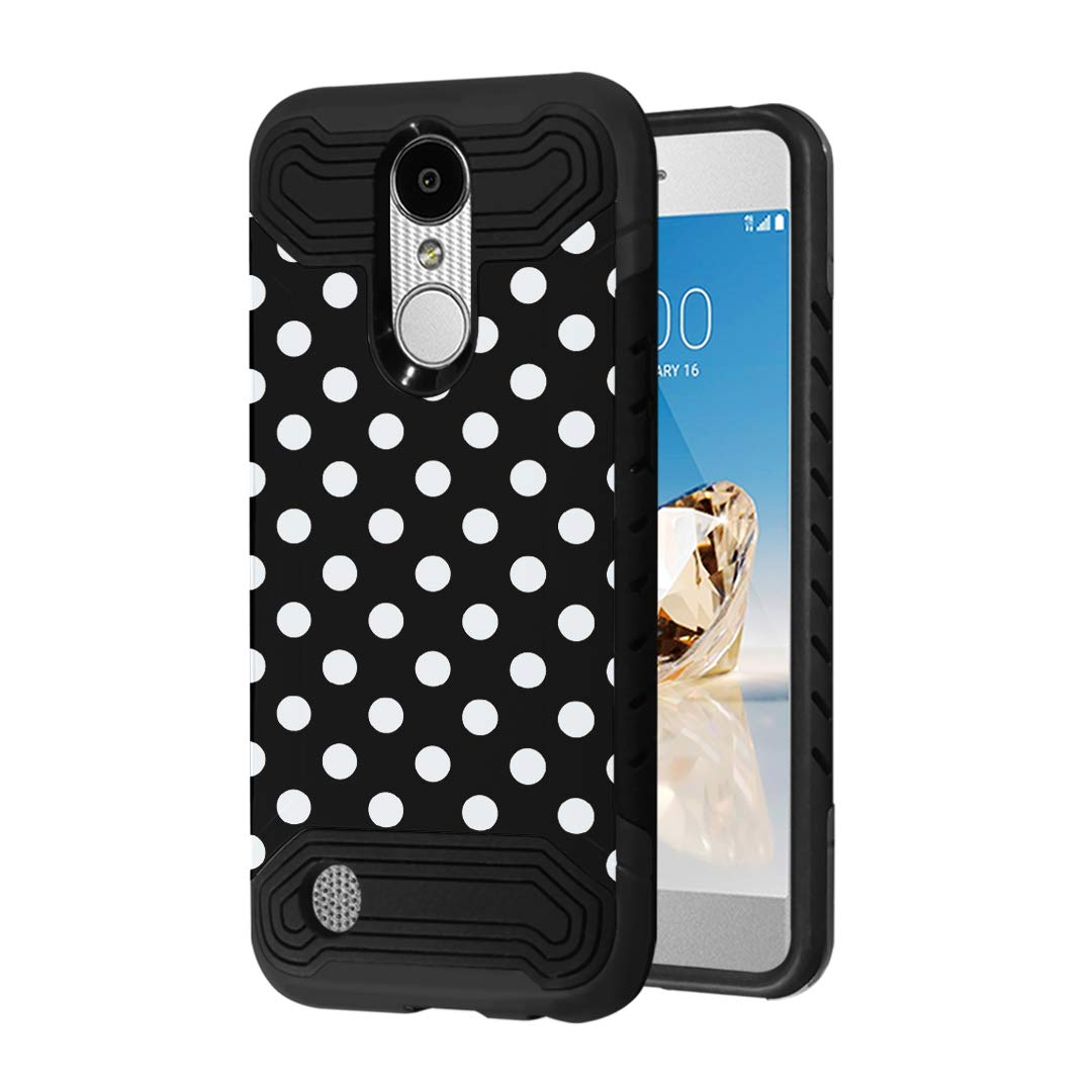 Case Compatible with LG Aristo 2 (X210), Aristo 2 Plus, Fortune 2, Rebel 3, Risio 3, Tribute Dynasty, Zone 4, K8, K8 Plus 2018 [Moriko Slim Black Case] for LG Aristo (Polka Dot Black)
