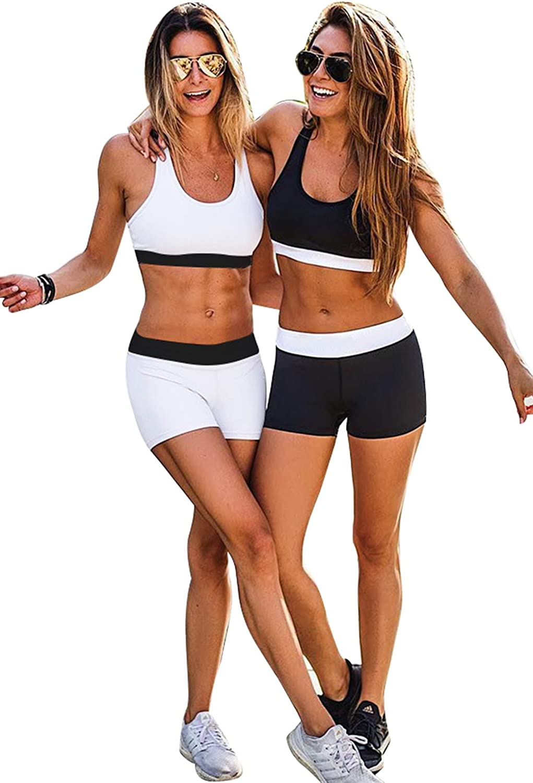 Conjuntos Deportivos Mujer Verano Casual Moda Patchwork Chándal Gimnasio Dos Piezas Crop Top Deporte Sujetador y Pantalón Corto Leggins Push Up Cintura Alta Yoga Set para Gym Running Pilates Fitness