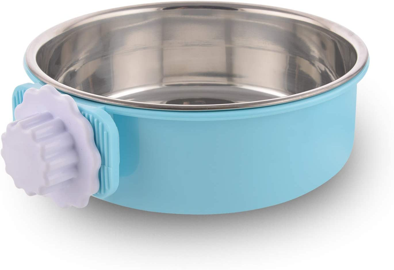 Crate Dog Bowl Removable Stainless Steel Water Food Feeder Bowls Cage Coop Cup for Cat Puppy Bird Pets (Large, Blue)