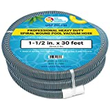 U.S. Pool Supply 1-1/2' x 30 Foot Professional Heavy Duty Spiral Wound Swimming Pool Vacuum Hose with Swivel Cuff