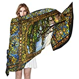 LORVIES Stained Glass Windows Silk Scarf Lightweight Long Scarf Shawl Wrap for Women