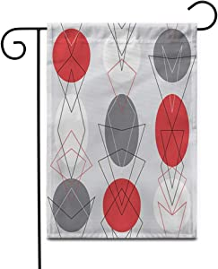 """Awowee 12""""x18"""" Garden Flag Gray Mid Century Modern 1950S Vintage Retro Atomic Pattern Outdoor Home Decor Double Sided Yard Flags Banner for Patio Lawn"""