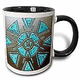 3dRose mug_108088_4 Designer One of A Kind Native American Art Two Tone Black Mug, 11 oz, Black/White