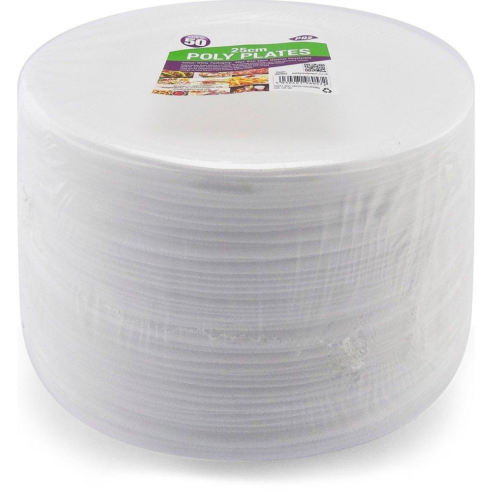 100 platos descartables en poliestireno, blancos, 25 cm, calidad duradera para alimentos fríos y calientes: Amazon.es: Hogar