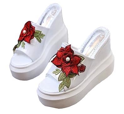 Good Night Frauen  Damen Elegante Blumenstickerei Keilabsatz Sandale Slipper Super hoch 12cm