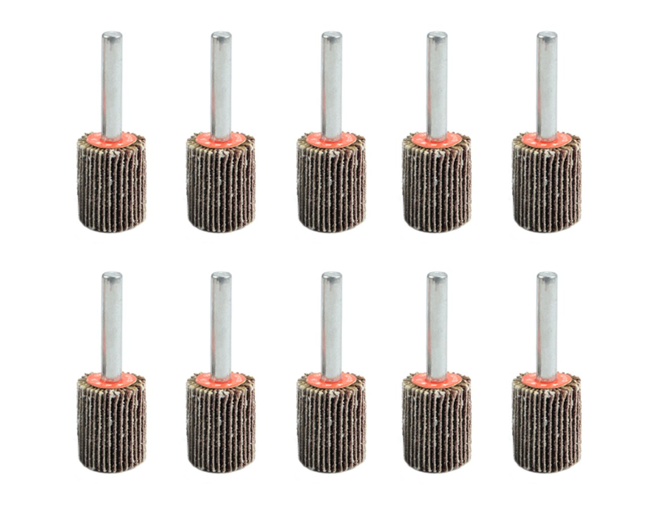 TOVOT 10 PCS 3/4'' by 1'' by 1/4 '' Mounted Flap Wheels with 1/4 '' Mandrel
