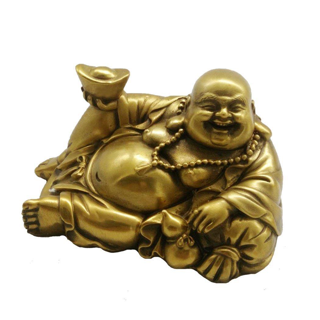 Handmade Brass Lying laughing Buddha Statue Home Decor Housewarming Congratulatory Gift