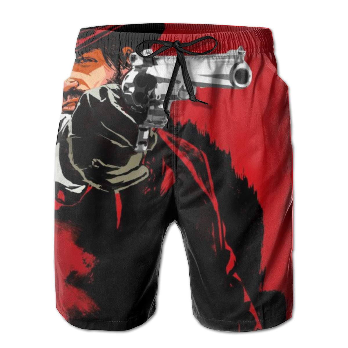 8Lucky Mens Swimming Trunks Quick Dry Beach Board Shorts Mesh Lining Dead-Redemption Print Casual Drawstring Pants