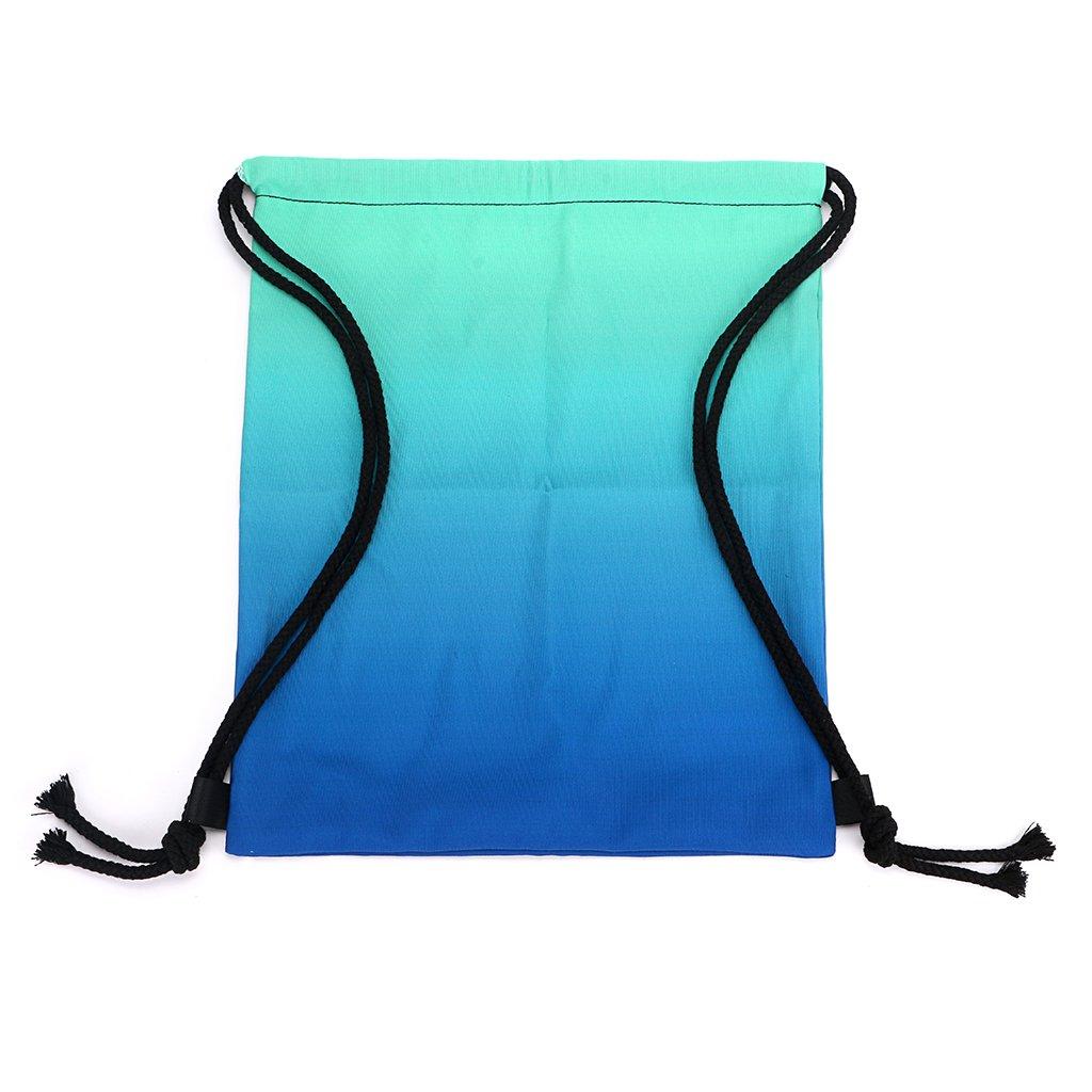 BTSKY Bolsa de Mochila de Cuerdas con Decoloración Gradual Diseño de Lunares con Cuerdas Resistentes Multifunción para Deporte Natación Carrera Danza Escuela para Adultos Niños (Decoloración Cian Azul)