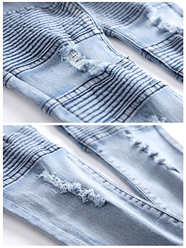 Boy's Ripped Skinny Jeans Destroyed Stretch Slim Distressed Pants Light Blue 8 by JeansNiu (Image #5)