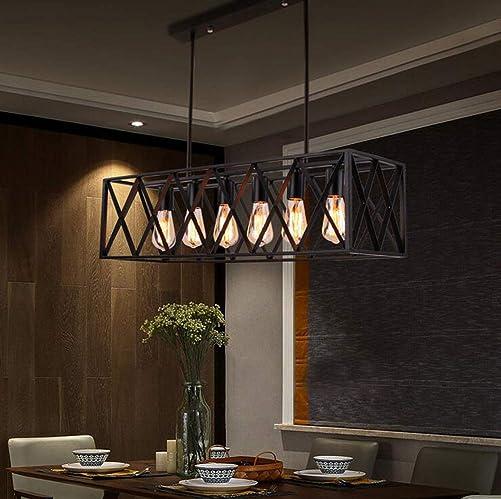 LEDBOY 6-Light Vintage Kitchen Island Chandelier Adjustable Industrial Rectangle Iron Pendant Lighting