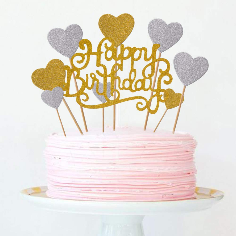 Amazon Joyclub Happy Birthday And Gold Silver Heart Cake Cupcake Decorations Toppers Picks Supplies 41 Pcs Glitter Party Grocery