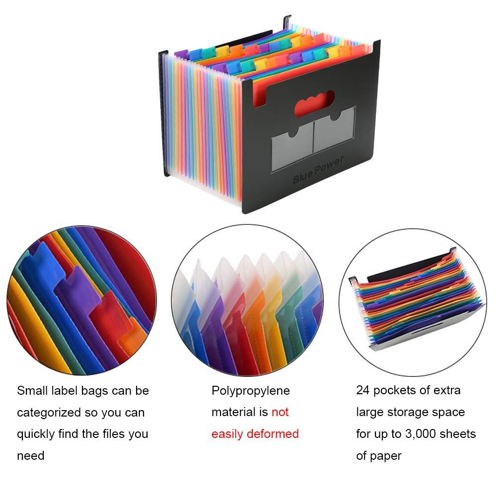 Organizador Expandible Carpetas de Archivos BluePower 24 bolsillos Rainbow Carpeta Clasificadora con Tapa Oficina Accordion A4 Carpeta de Documentos Malet/ín Archivador Empresarial
