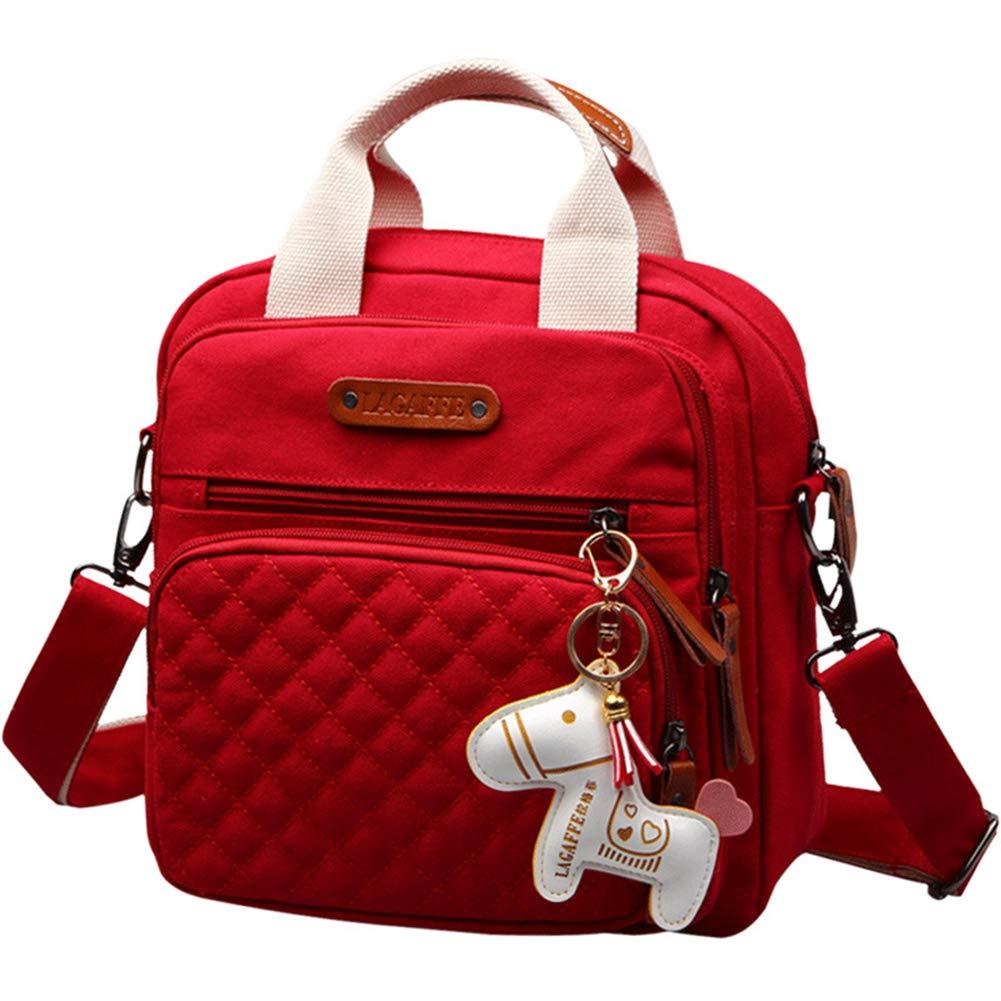 Meyuxi Fashion Small Casual Canvas Diaper Bag Backpack, Multifunction Shoulder Messenger Bag/Crossbody Bag/Backpack/Handbag (Black)