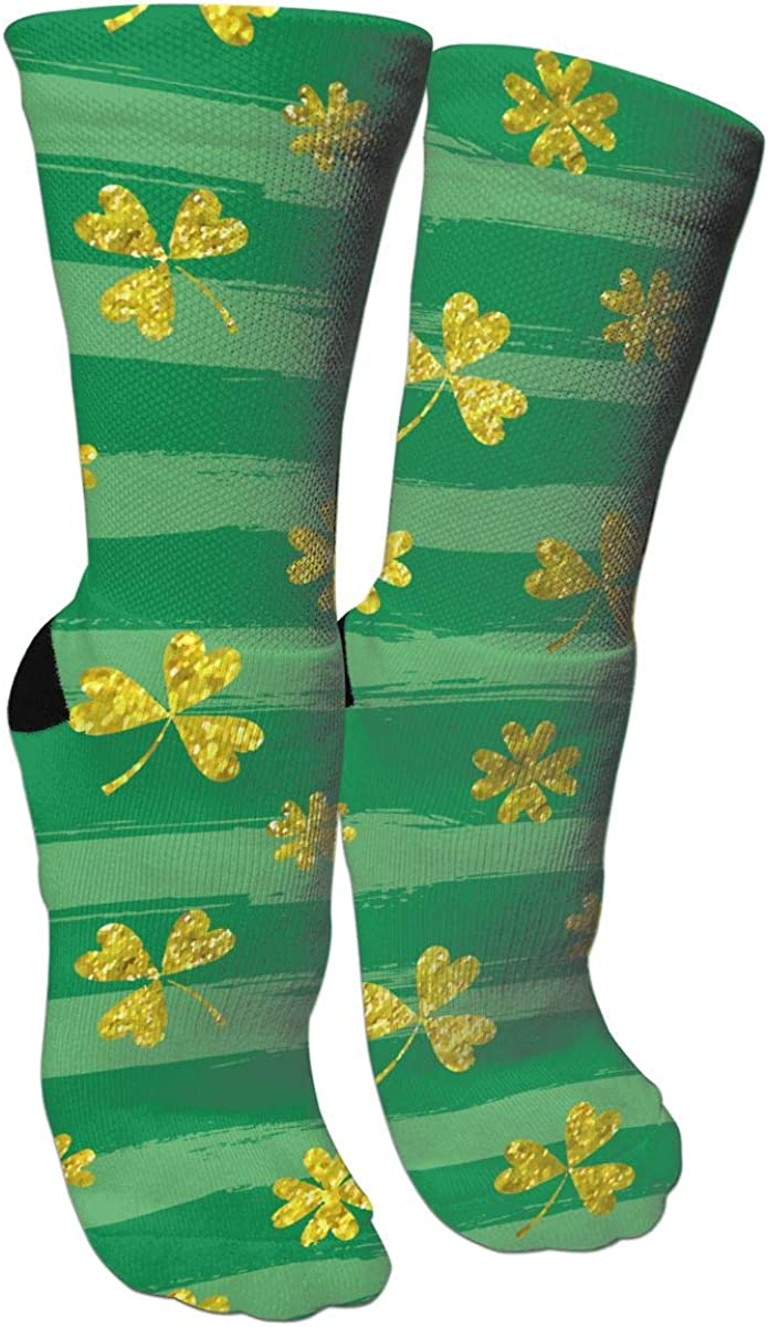 St Patrick S Day Brushstroke Golden Clovers Casual Socks Cotton Crew Socks Crazy Socks For Sports And Travels